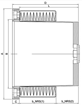 dimensional diagram for NRS fitted to bellhousing
