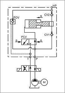 hydraulic circuit diagram with hydraulic pressure intensifier