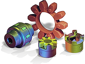 torsionally flexible spider couplings or jaw couplings